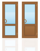 Brown plastic transparent doors vector illustration — Stok Vektör