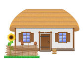 Ancient farmhouse with a thatched roof vector illustration — Stock Vector