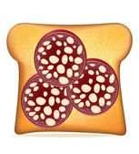 Toast with sausage vector illustration — Vector de stock