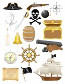 Set of pirate icons vector illustration — Stock Vector