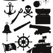 Set of pirate icons black silhouette vector illustration — Stock Vector #68696959