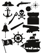 Set of pirate icons black silhouette vector illustration — Stock Vector