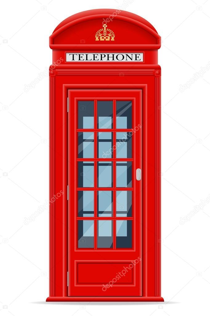 伦敦红色电话亭矢量图