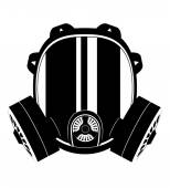 Icon gas mask black and white vector illustration — Stock Vector