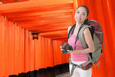 Backpacker with camera — Foto Stock