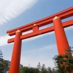 Red otorii of Heian Jingu Shrine in Kyoto Japan. — Stock Photo #51950129