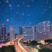 City night scene with cars light — Stock Photo