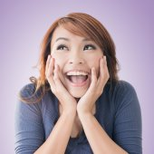 Excited happy Asian girl — Foto Stock