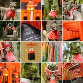 Collection of Fushimi Inari Taisha Shrine scenics — Stock Photo