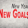 Write words on wall, New Year New Goals — Stock Photo #61923809
