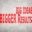 Write words on wall, Big Ideas Bigger Results — Foto de Stock   #61923995