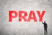 Text on wall, Pray — Stock Photo
