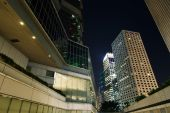 City night scene with business office skyscrapers in Hong Kong,  — Stock Photo