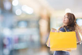 Cheerful shopping woman — Stock Photo