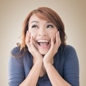 Excited happy Asian girl — Stock Photo