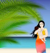 Mother and baby tropical illustration — Stock Vector