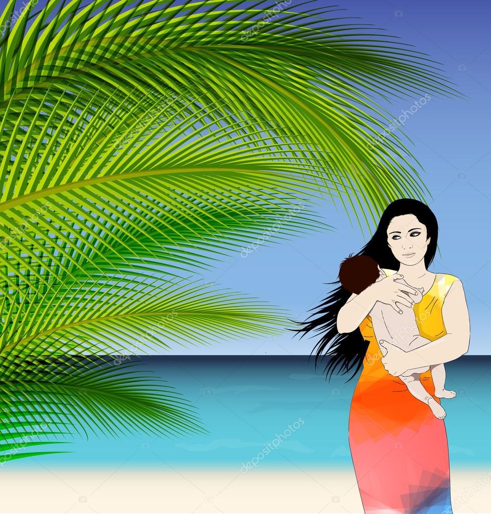 妈妈和宝贝热带矢量图和棕榈树的叶子
