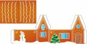 Gingerbread  house folded model paper — Stock Vector