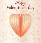 Pink vector paper Valentines heart — Stock Vector