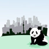Beijing  skyline with panda — Stock Vector