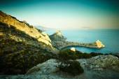 Mountains and sea at sunset. Crimea landscape — Stock Photo