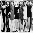 Fashion collage. Group of beautiful young women — Stock Photo #58236515