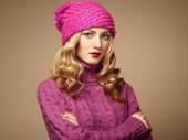 Fashion photo of beautiful woman in sweater — Stock Photo