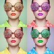 Portrait of beautiful young woman with colored glasses — Stock Photo #74483503