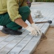 Worker puts the blocks on the sidewalk — Stock Photo #54231369