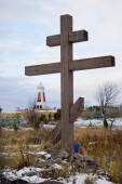 Wooden cross on old Pomeranian cemetery — Stok fotoğraf