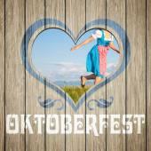 Wooden heart Oktoberfest — Stock Photo