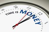 Relógio com o tempo é dinheiro — Fotografia Stock