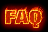 Faq in flames — Stock Photo
