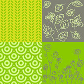 Patterns in grey and green — Stock Vector