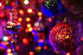 Christmas lights and ornaments — Stock Photo