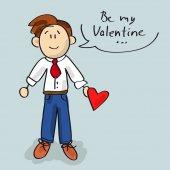 Be my Valentine cartoon — Stock Vector