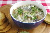 cream soup with boletus — Stock Photo