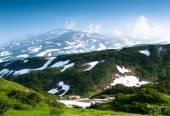 Camp tourists volcanologists — Stock Photo