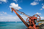 Red Crane with Blue Water and Sky — Stock Photo