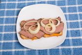 Sliced Beef Sandwich on Blue Towel — Stock Photo