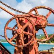 Rusty Gears in Old Red Crane — Stock Photo #53026263