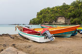 Colorful Fishing Boats on St Lucia Beach — Stock Photo