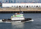 Green and White Tugboat from Brooklyn — Stock Photo