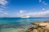 White Cruise Ship Past Rocky Shore — Stock Photo