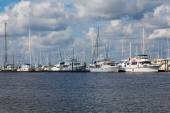 White Yachts in Marina Under Clouds — Stock Photo