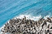 Man Made Stones in Sea Wall — Stock Photo
