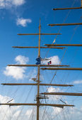 Masts on a Clipper Ship with Antigua Flag — Stock Photo