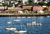 Sailboats in Harbor with Portland in Background — Stock Photo