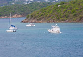 Sailboats and Cabin Cruiser Moored in Bay — Foto Stock