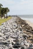 Grey Granite Rocks of Seawall — Stock Photo